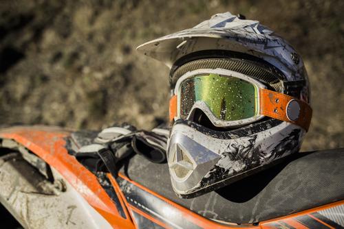 Dirty motorcycle motocross helmet
