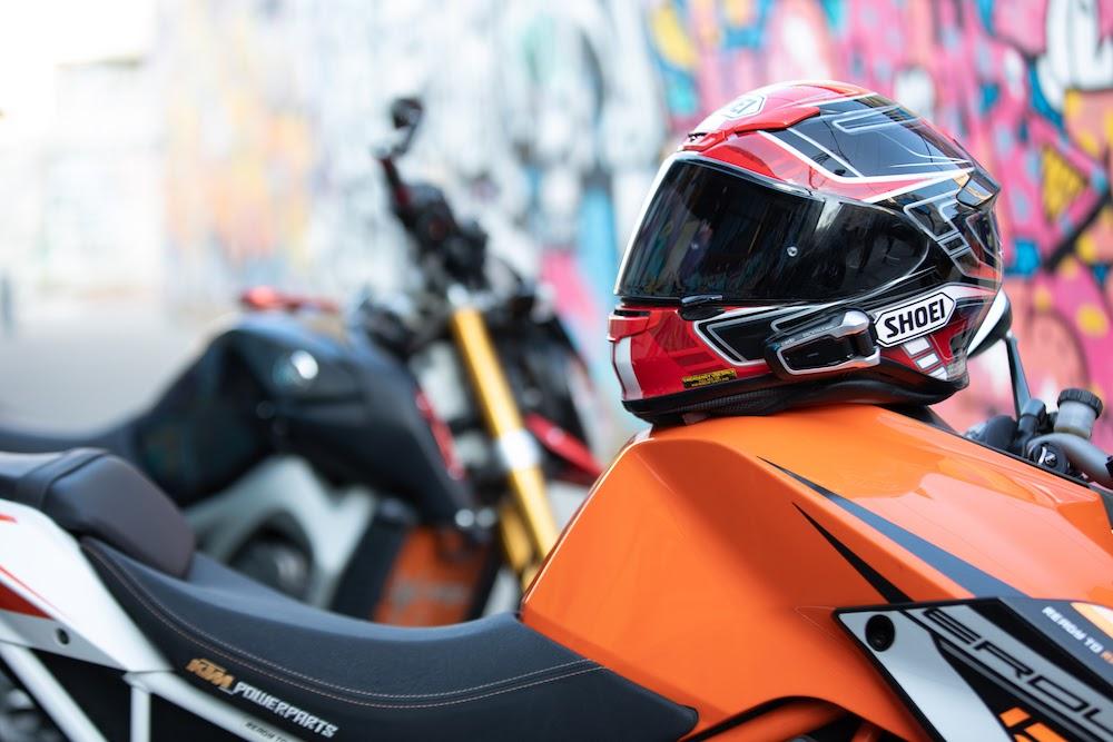 helmet on motorcycle