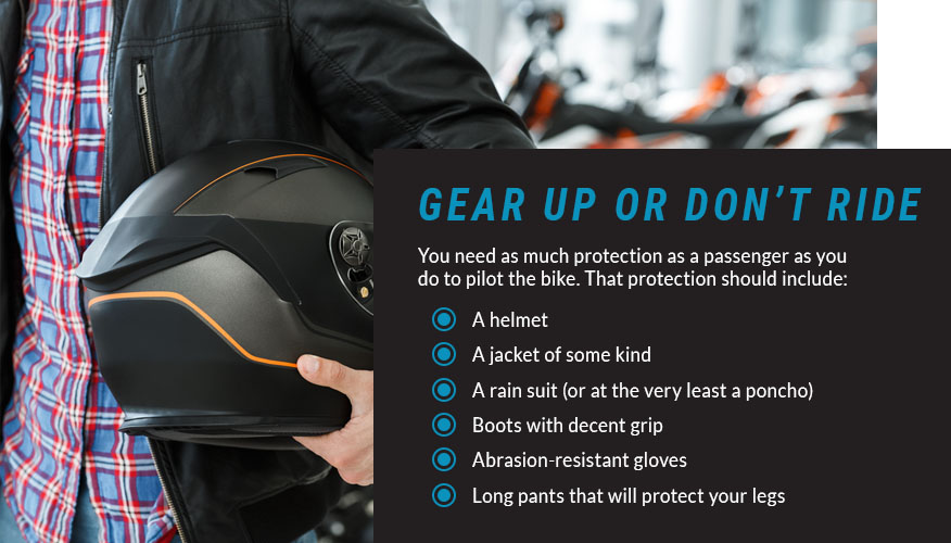passenger bike protection gear graphic
