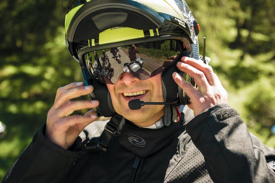 bike rider with helmet microphone