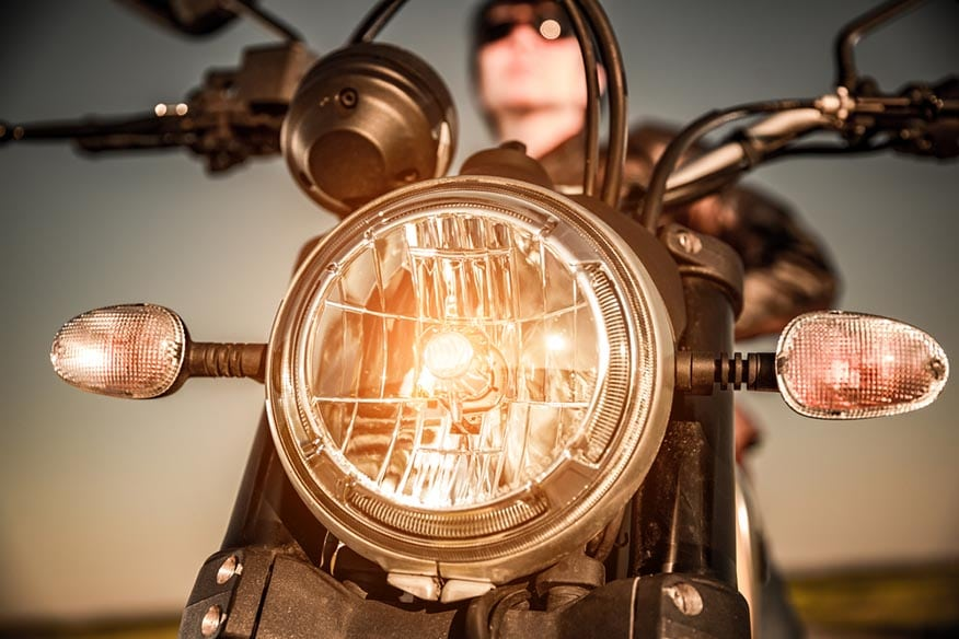 motorcycle headlamp closeup