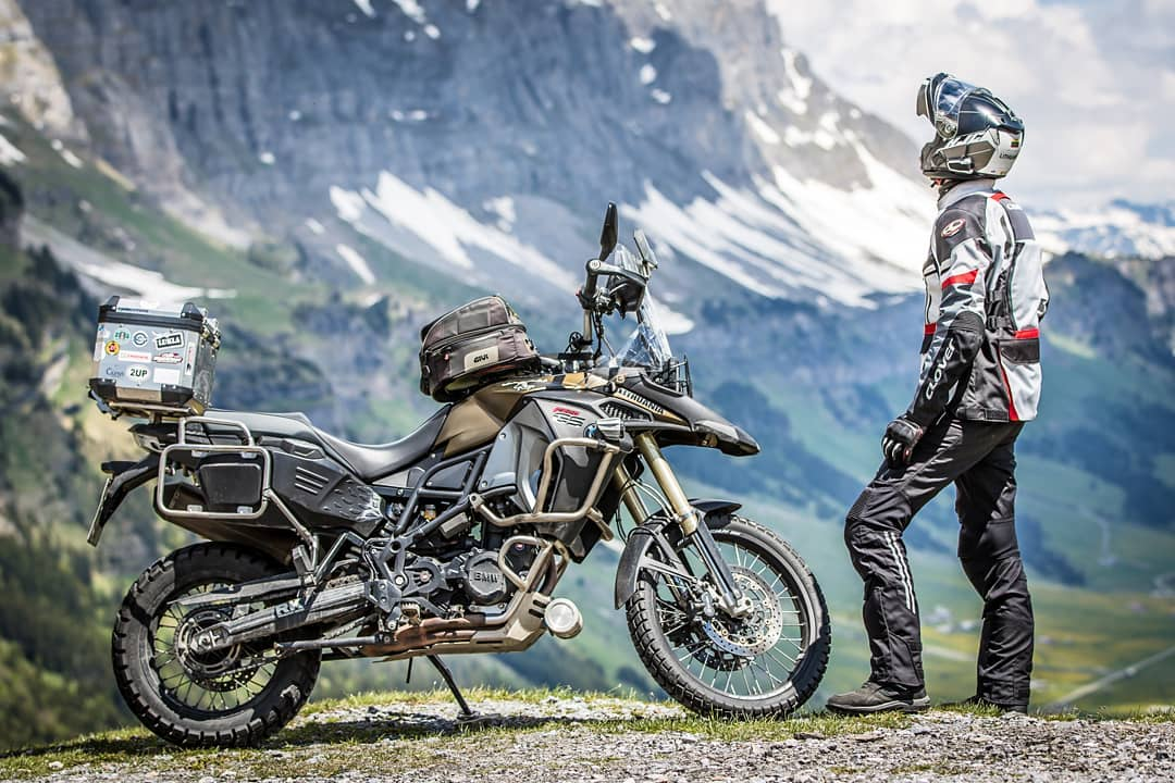 motorcycle rider in the mountains