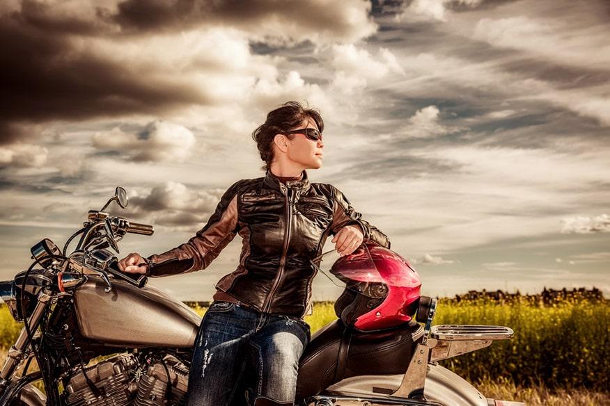 Biker girl in a leather jacket