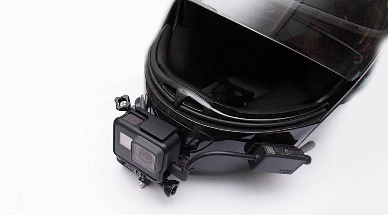 motorcycle helmet with motovlog set-up