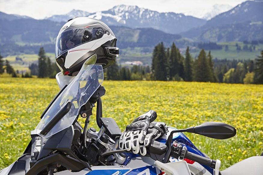biker helmet sitting on handlebars