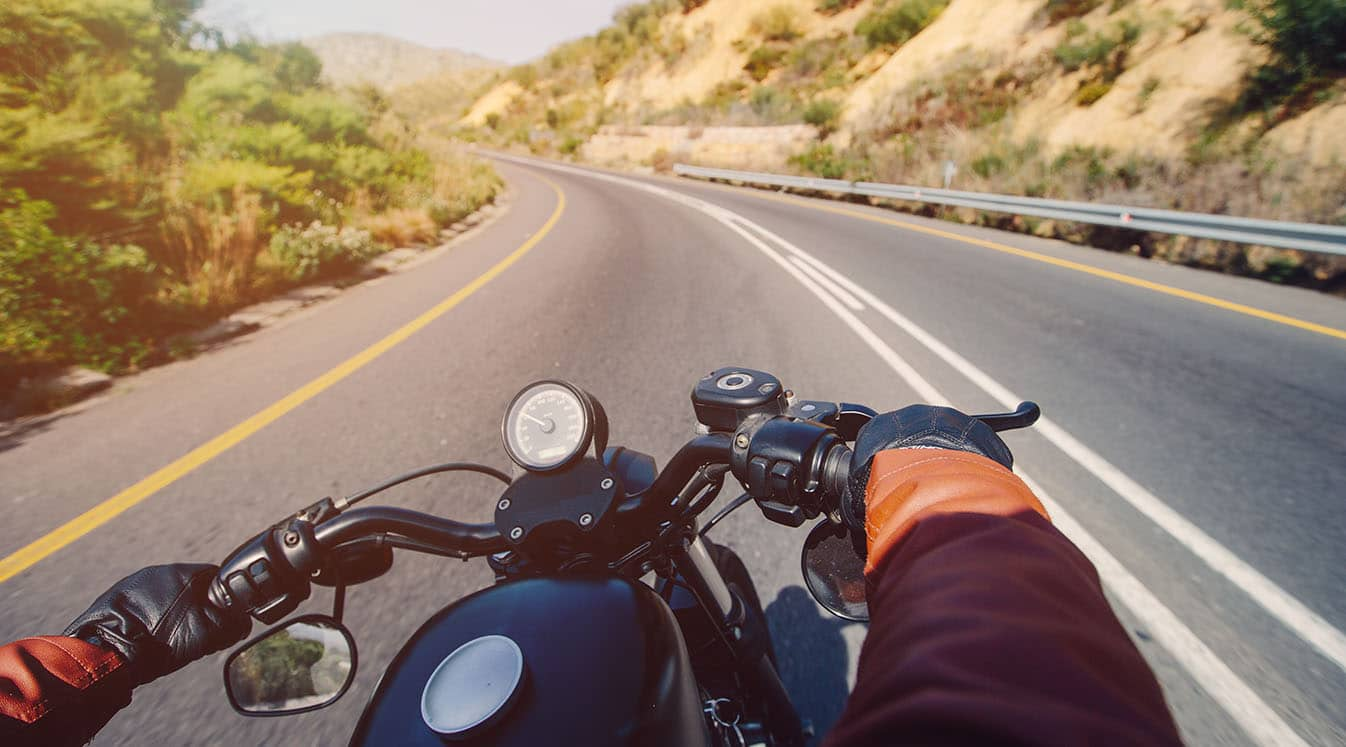 motorcyclist point of view on road