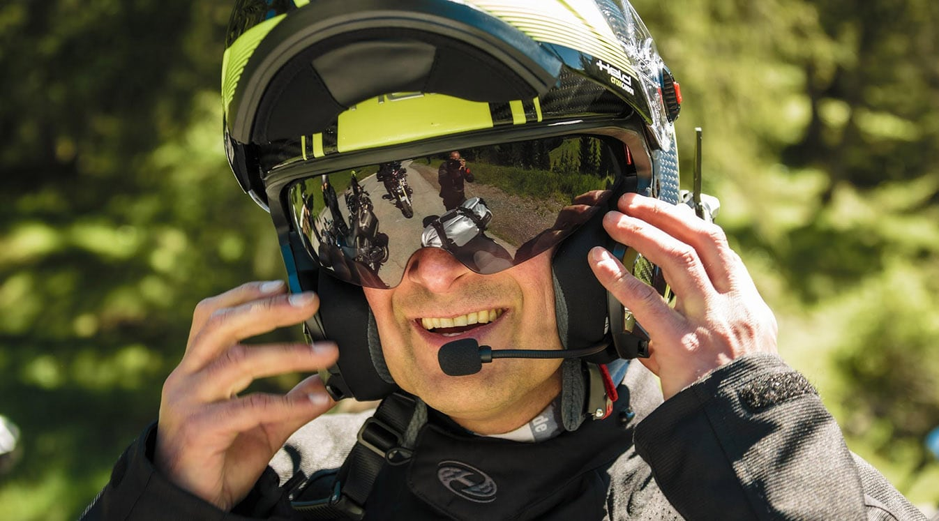 Man with motorcycle helmet