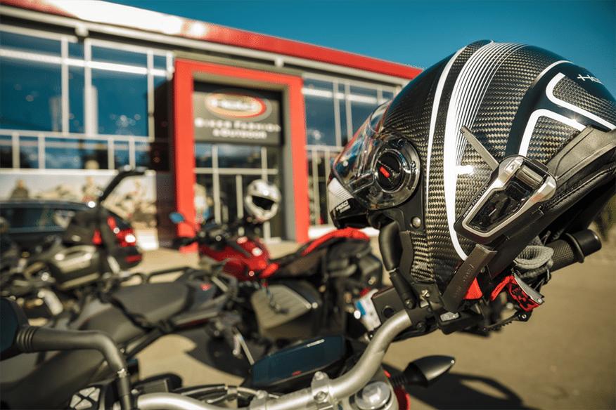 Motorcycle helmet on bike