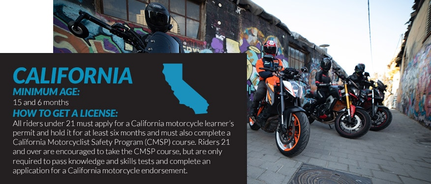 motorcycle license requirements in California