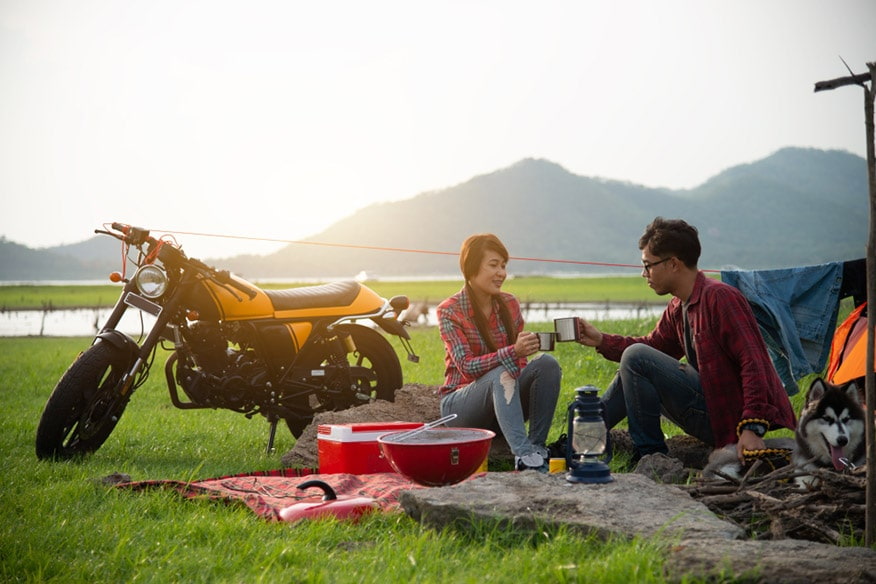 Couple Traveling by motorcycle