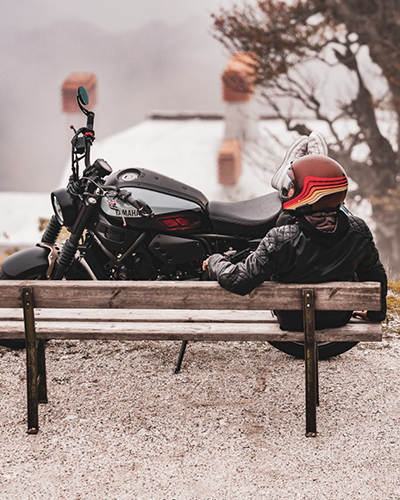 Motorcycle rider relaxing