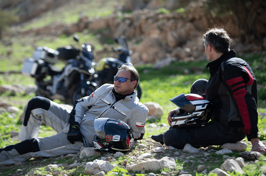 Motorcyclists resting