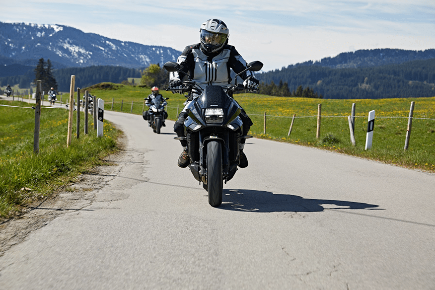 riding on motorcycle through countryside