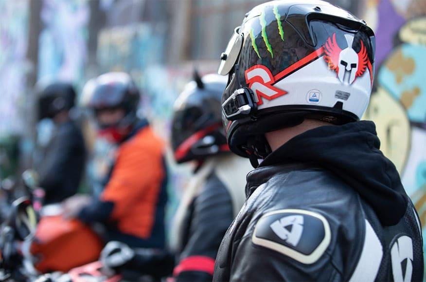 back of bikers helmet