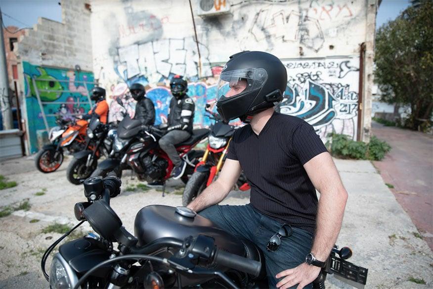 biker parked with helmet on
