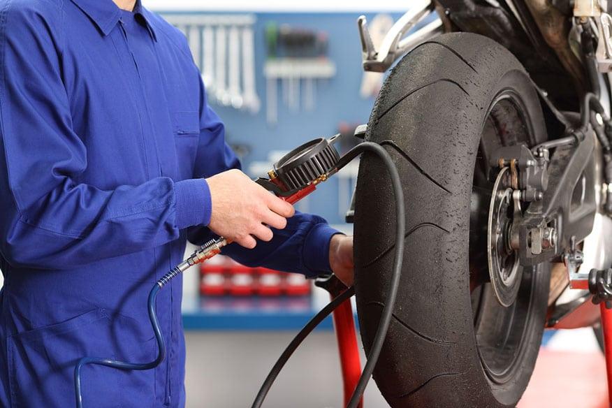 checking bike tire air pressure