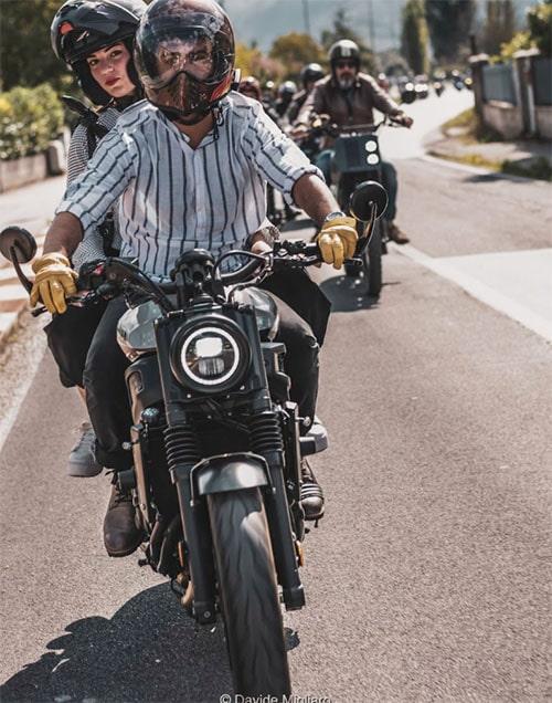 group of bikers on road