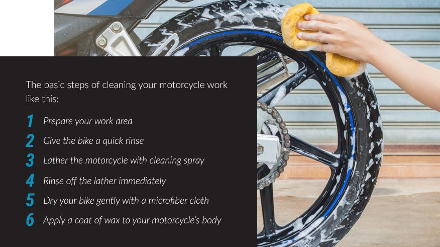 steps cleaning your motorcycle
