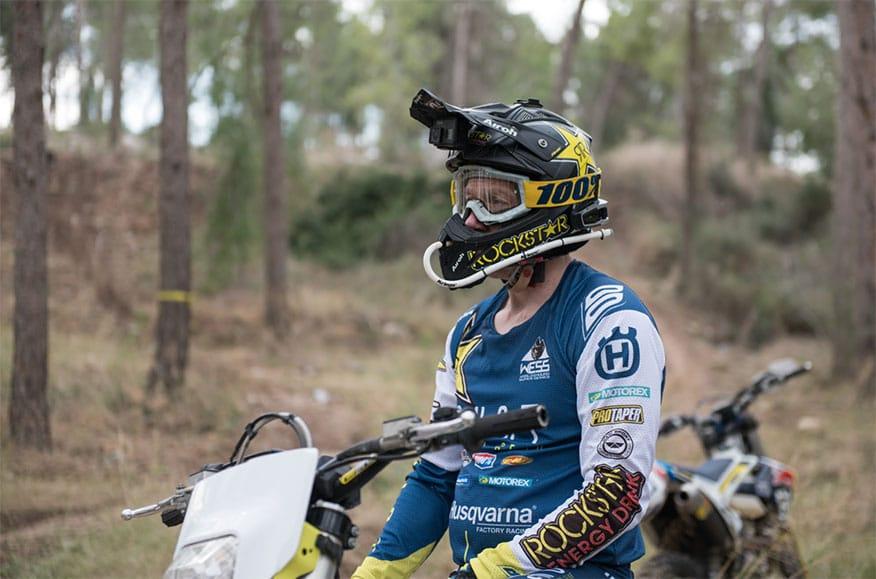 dirt biker wearing helmet