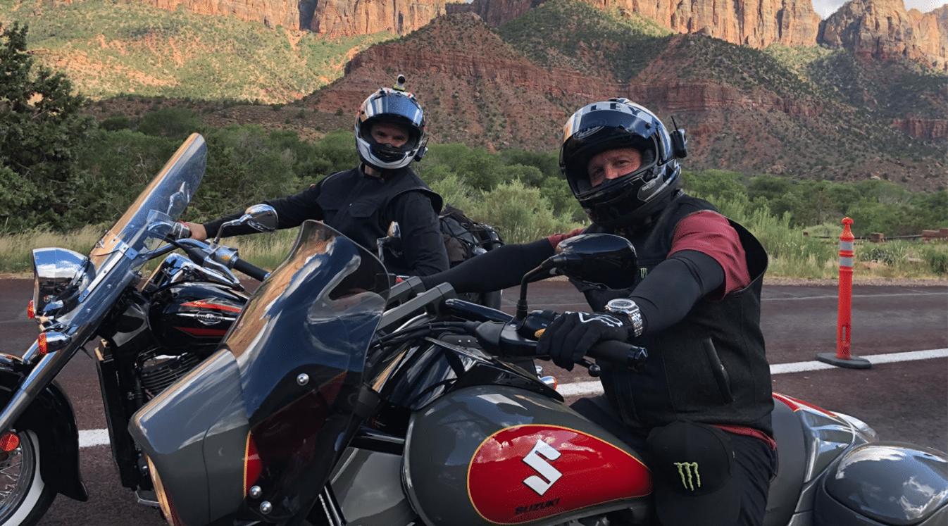 motorcyclists taking a break