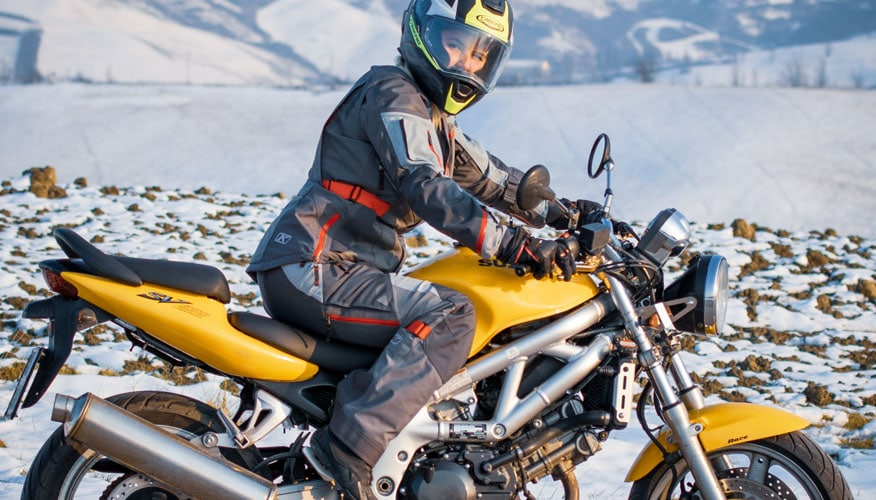 riding motorcycle snowy outdoors