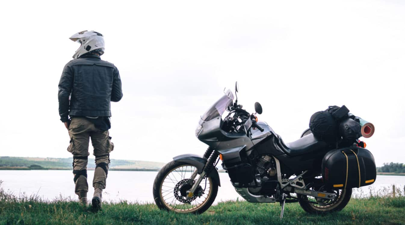 motorcycles with side bags and equipment for long road trip