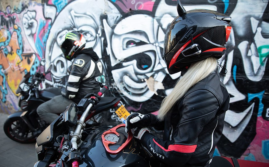 bikers in their gear and full face helmets