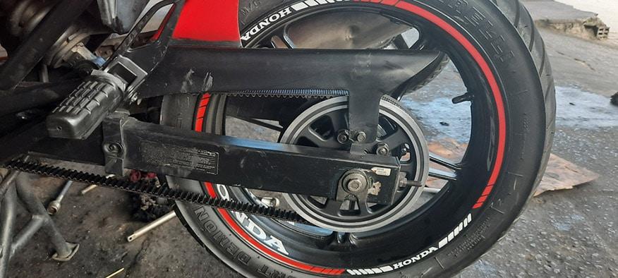 Honda CB300r motorcycle rear wheel