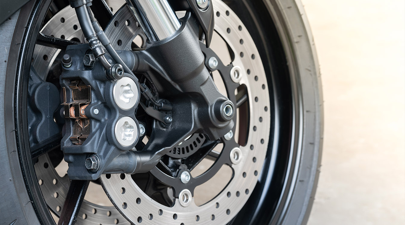 Close up of radial mount caliper