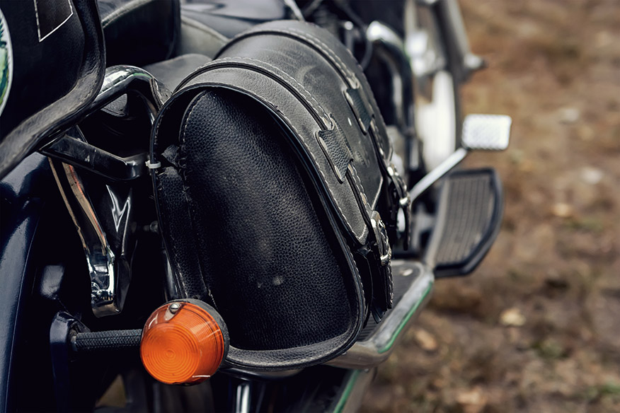 Leather travel bag on a motorcycle
