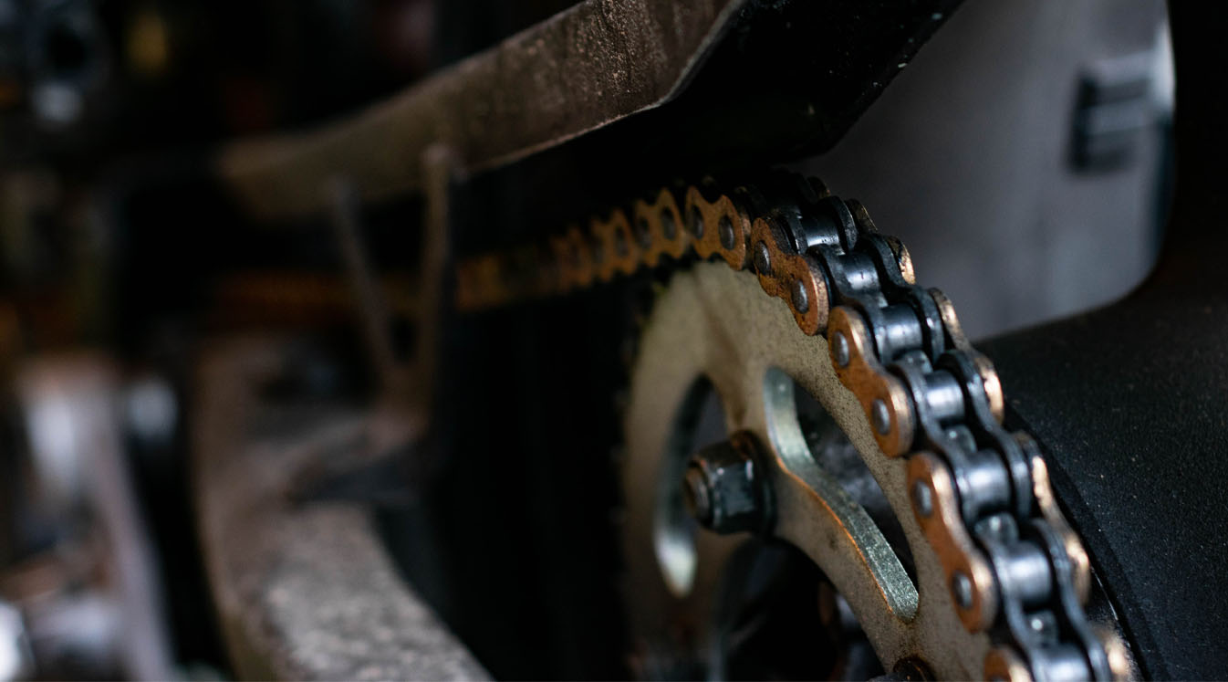 motorcycle with chain drive closeup